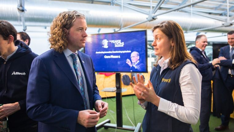 ​Co-founder of the ag-tech startup Breedr, Claire Lewis, speaks with Dr. Mark Lyons, president and CEO of Alltech, during the first day of The Pearse Lyons Accelerator 2019 program at Dogpatch Labs in Dublin, Ireland.