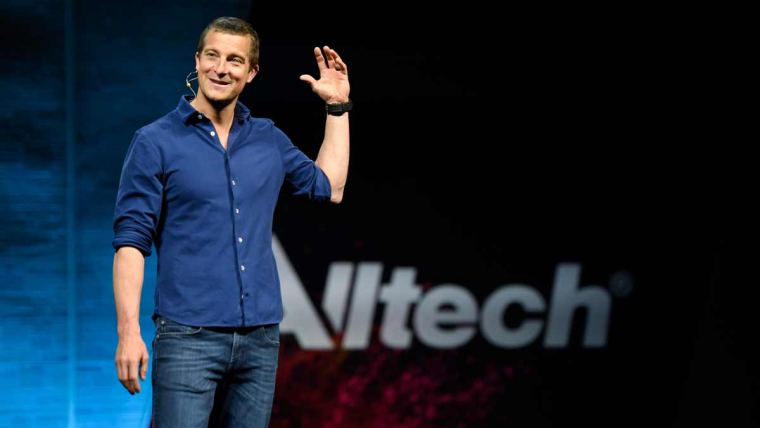 Bear Grylls speaks to the crowd from the main stage at ONE19: The Alltech Ideas Conference