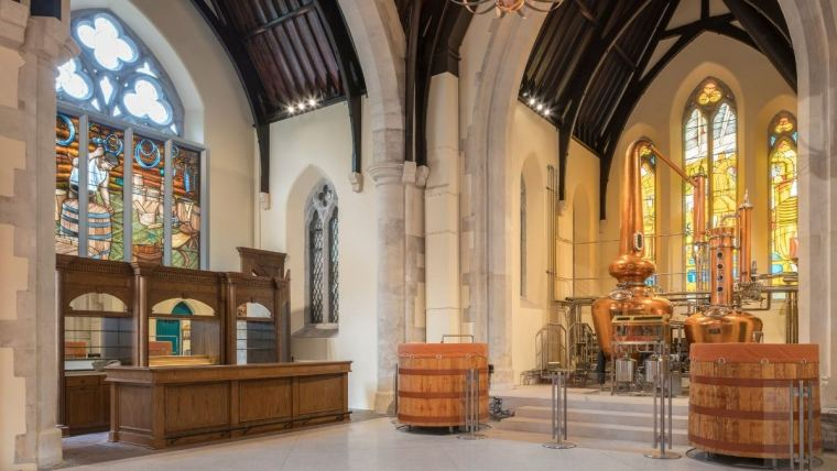 Interior of the historic St. James Church site of Pearse Lyons Distillery