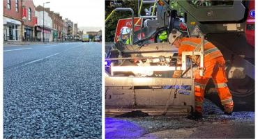 Road in UK being made with recycled plastic mixed by a KEENAN