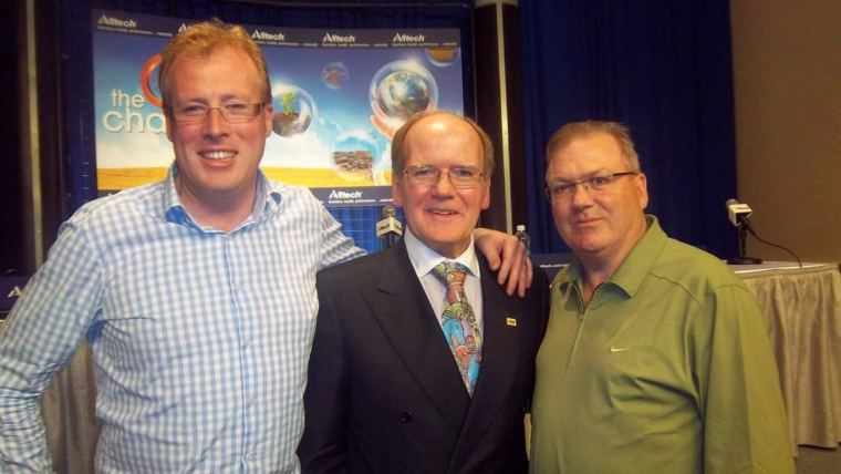 Dr. Pearse Lyons (middle), founder of Alltech, with members of the International Federation of Agricultural Journalists (IFAJ) Irish Guild, Damien O'Reilly (left) and David Markey (right).