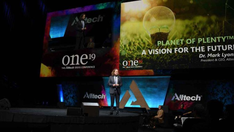 Dr. Mark Lyons speaking on the main stage at ONE: The Alltech Ideas Conference (ONE19)
