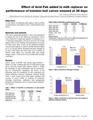 Effect of Acid Pak added to milk replacer - Research PDF thumbnail