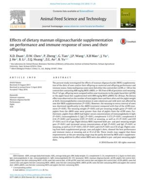 Effects of dietary mannan oligosaccharide supplementation on performance and immune response of sows and their offspring - Research PDF thumbnail